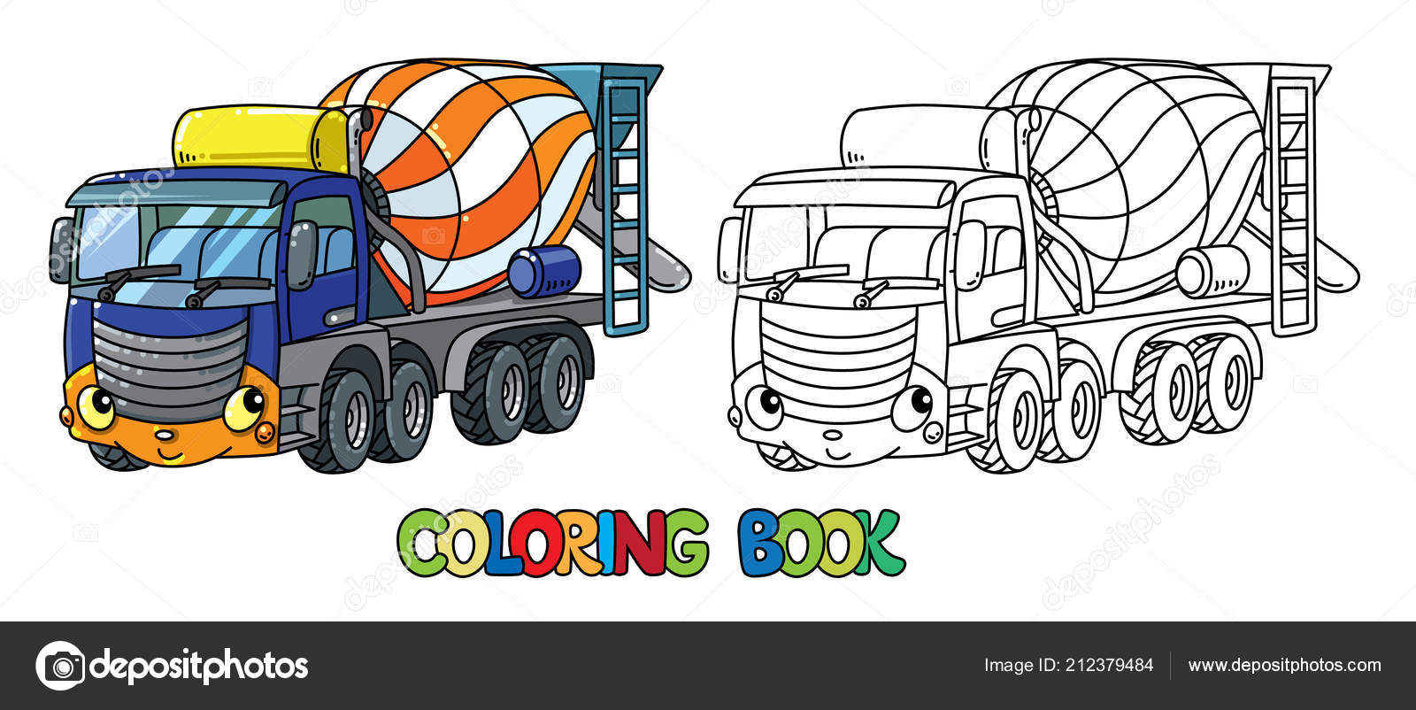Funny concrete mixer truck with eyes Coloring book — Stock ...