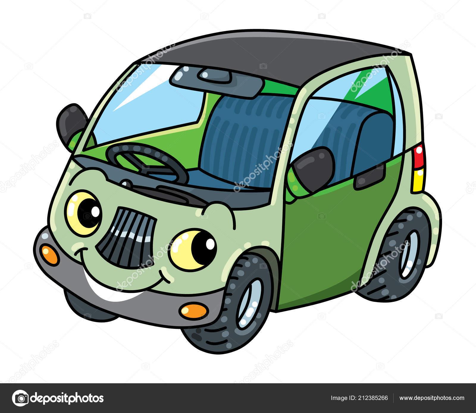 Lustige Kleine Auto Mit Augen Vektor Illustration Stockvektor