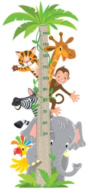 Cheerful funny giraffe, tiger, elephant, zebra, parrot and monkey. Height chart or meter wall or wall sticker. Childrens vector illustration with scale from 50 to 140 centimeter. stock vector