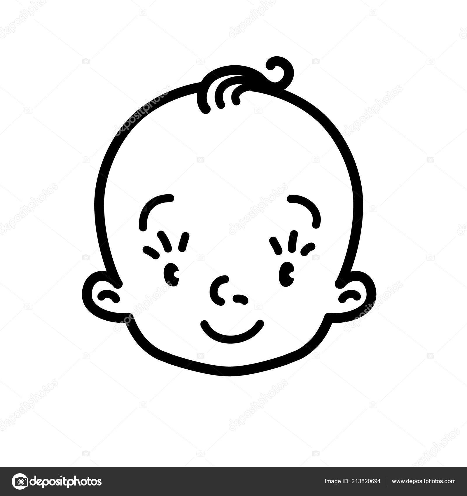 Illustrazione Disegno Faccia Bambino Icona Del Bambino Faccia Di