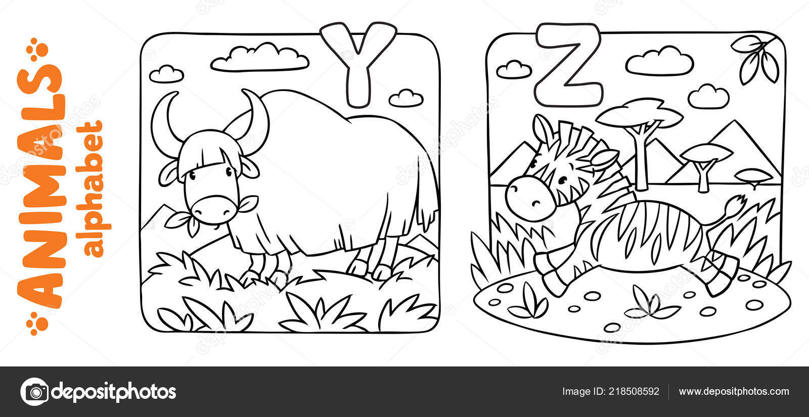 Animals alphabet or ABC. Coloring book set — Stock Vector ...