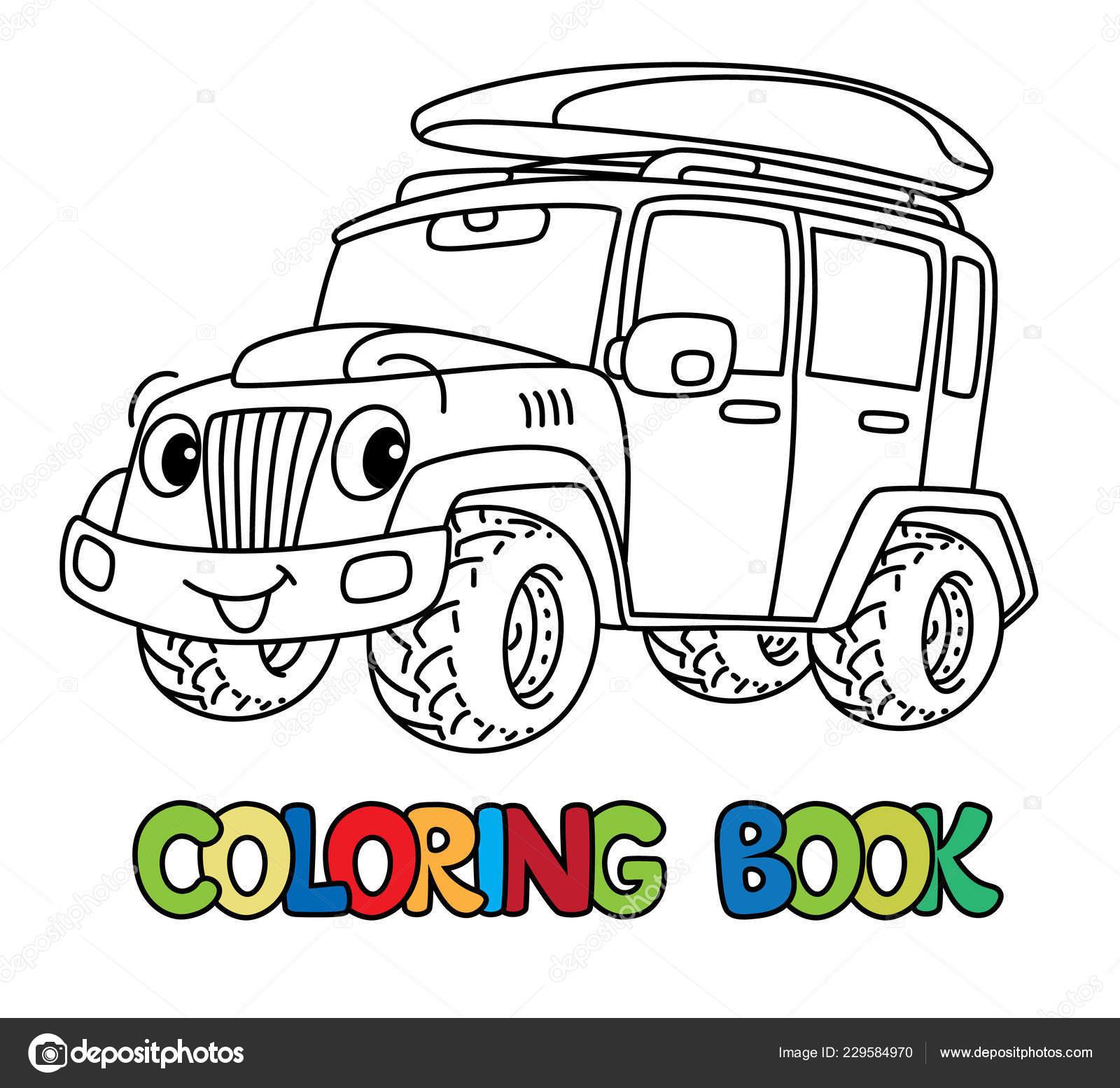 Voiture Funny Ou Iosis Lorgne Coloriages Image Vectorielle