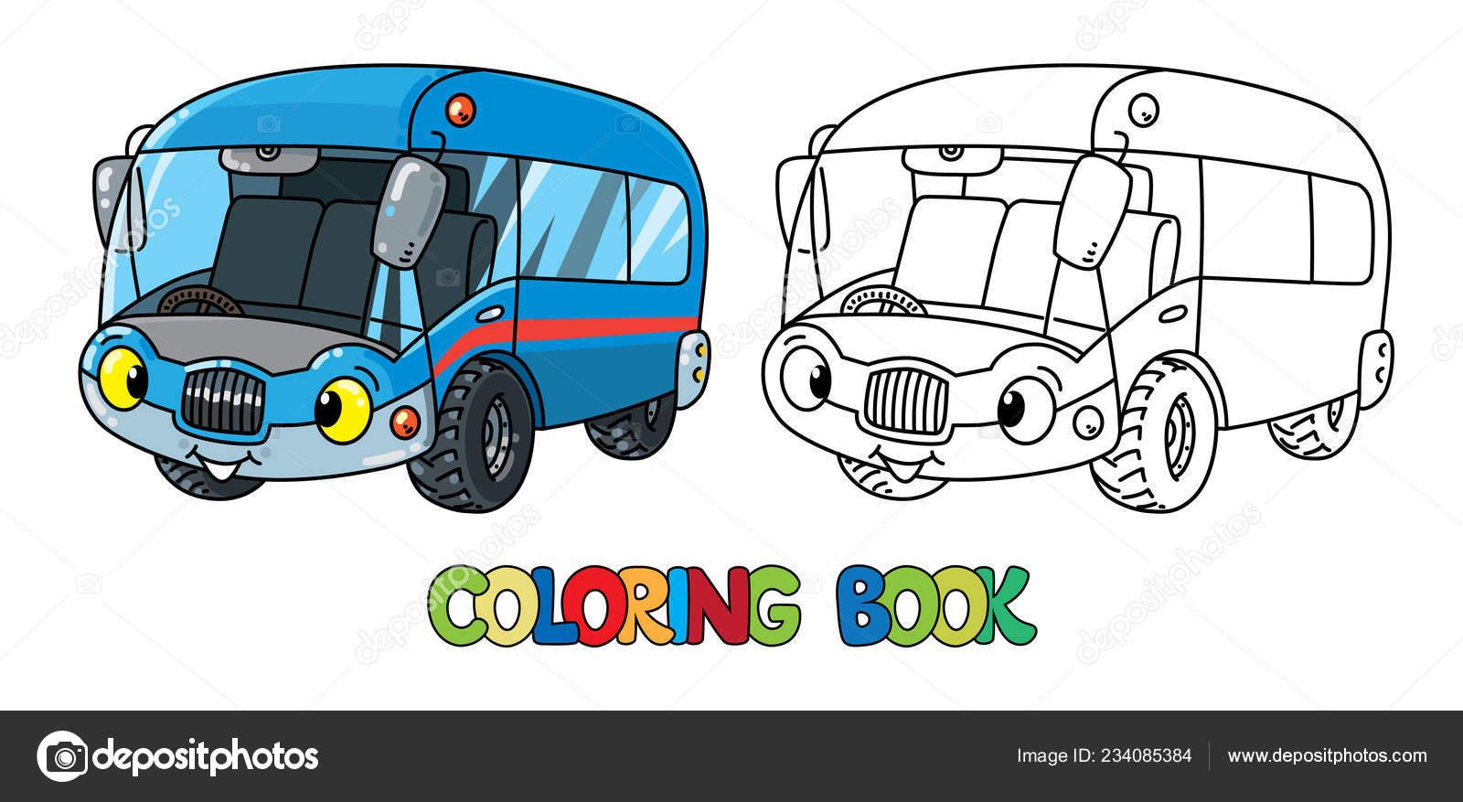 Komik Küçük Otobüs Ya Da Van Gözlü Boyama Kitabı Stok