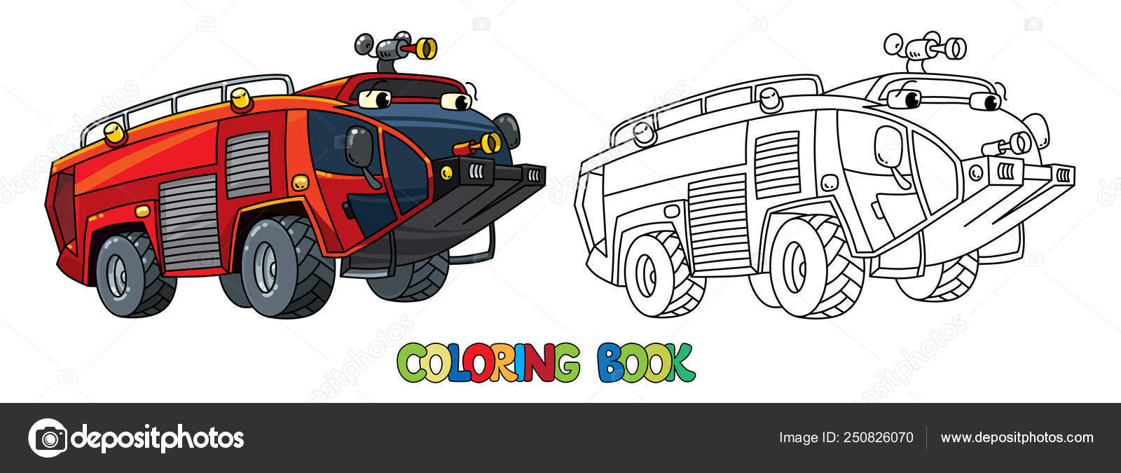 Fire Truck Or Fire Engine With Eyes Coloring Book Stock Vector