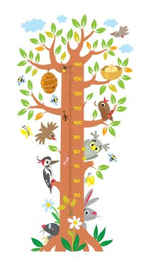 Fairy tree with animals meter wall or height chart