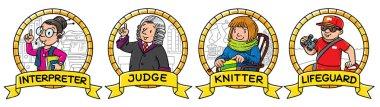 ABC professions set. Interpreter, teacher, judge, lifeguard.