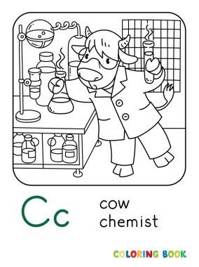 Cow chemist ABC coloring book. Alphabet C