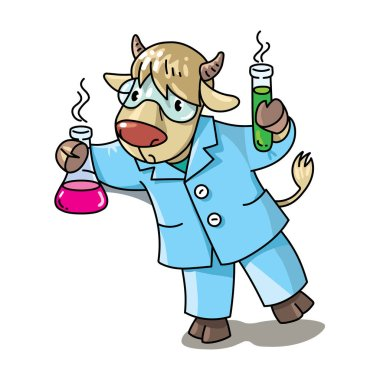 Cow chemist ABC. Alphabet C for kids