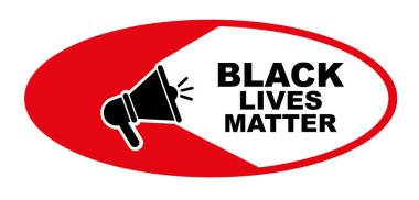 Black lives matter sign on white background icon