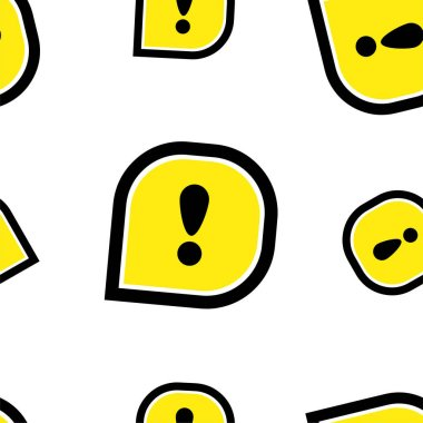 Seamless patterns with exclamation sign icon
