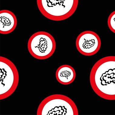 Seamless patterns with brain sign icon