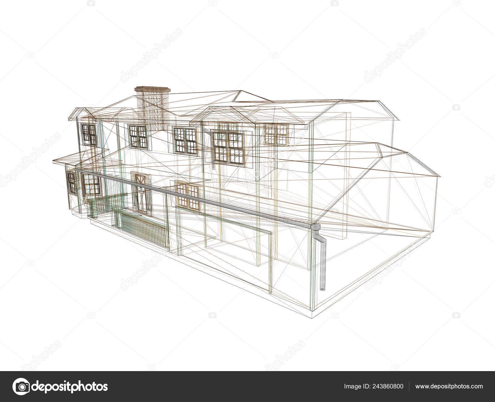 Estructura Metálica Casa Dibujo Casa Isométrico Ilustración