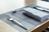 Fork ,knife and spoon with napkin