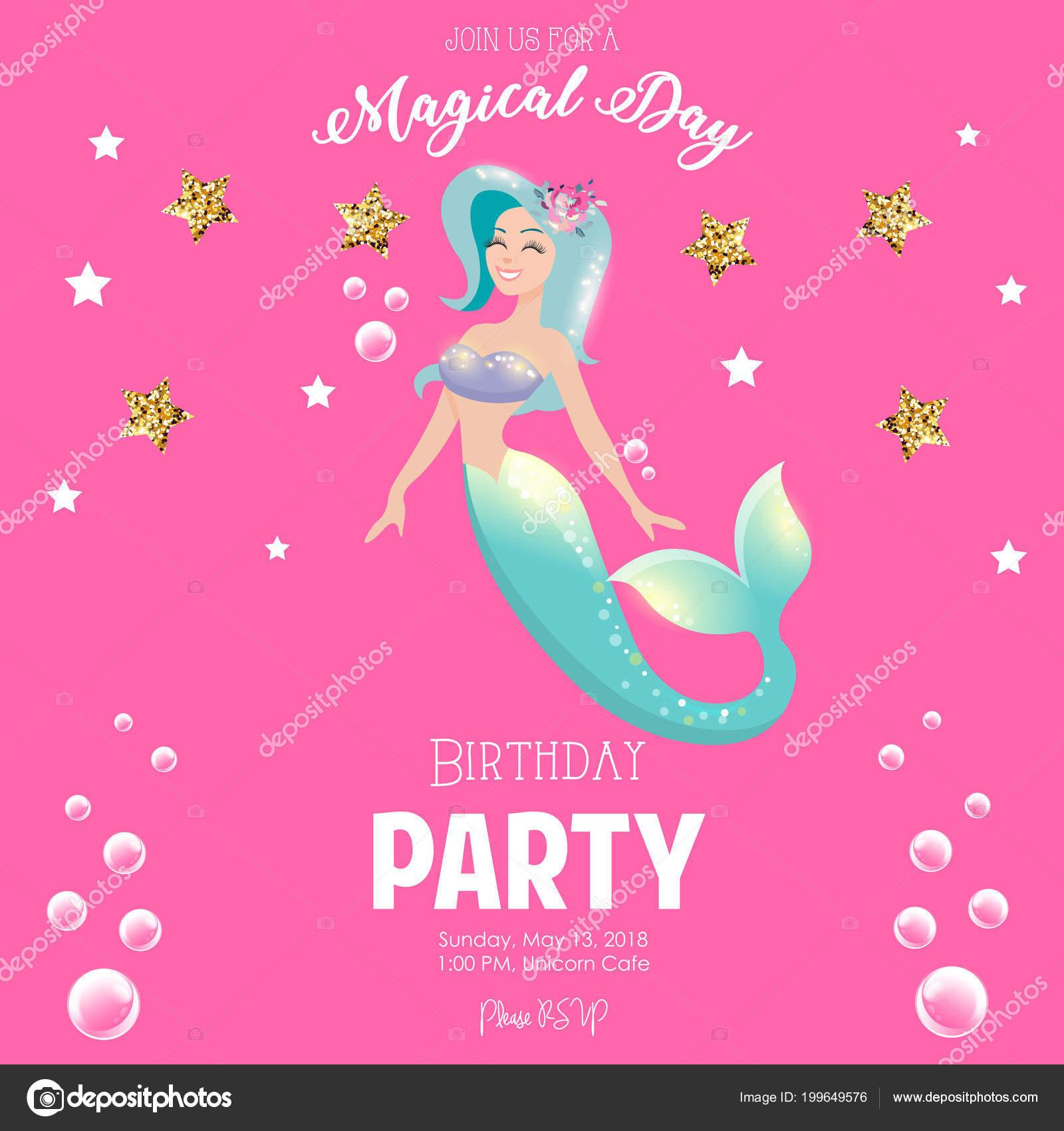 誕生日パーティの招待状マーメイド ピンク背景の上のカラフルなベクトル