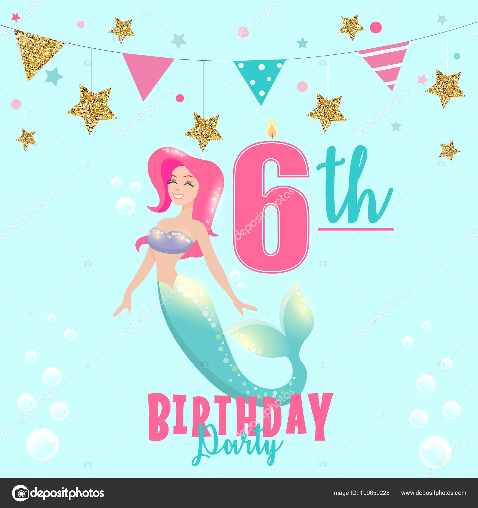 Colorful Vector Template 6Th Birthday Party Invitation Mermaid Stock