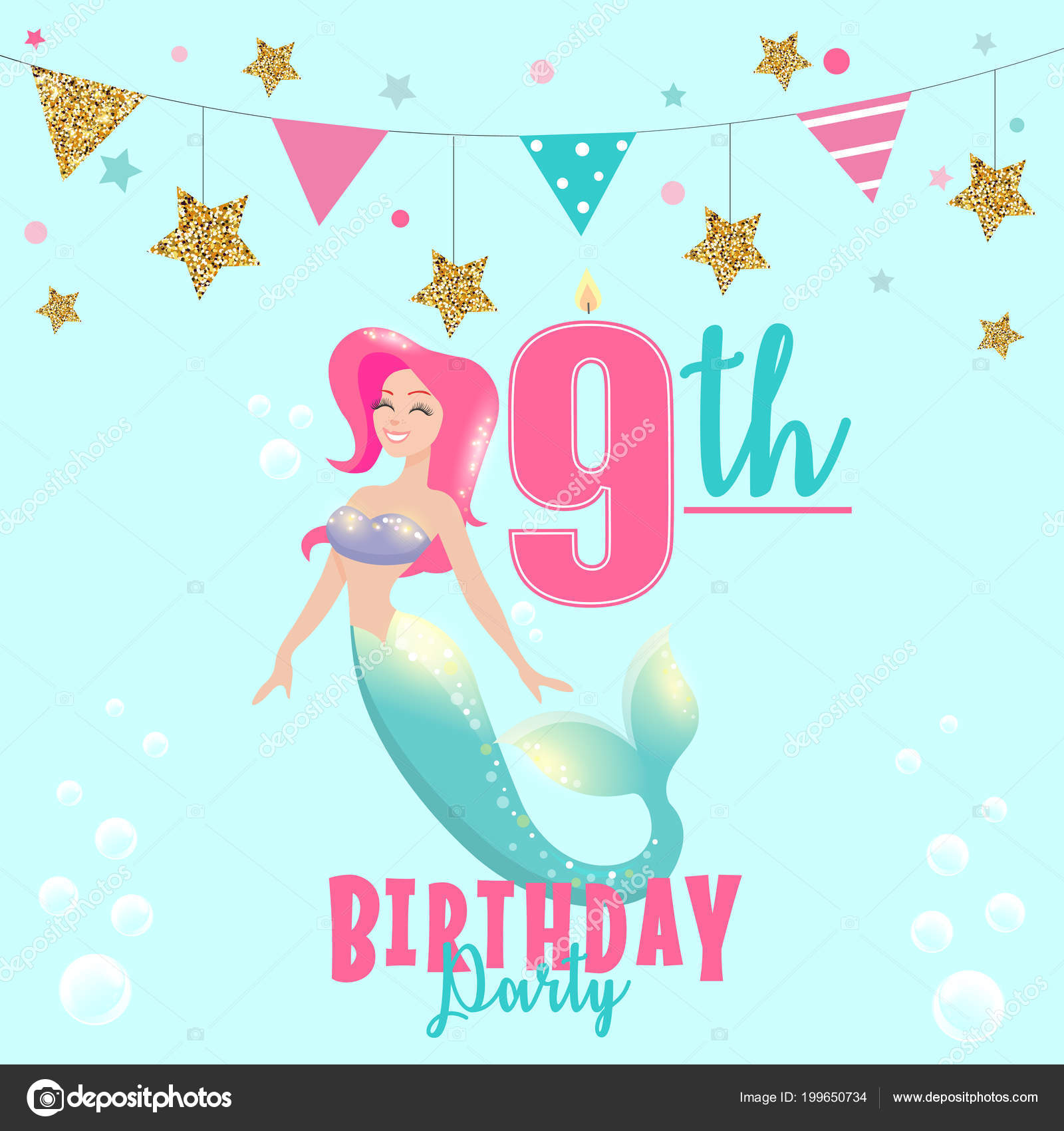 Colorful vector template 9th birthday party invitation mermaid colorful vector template 9th birthday party invitation mermaid vetores de stock stopboris