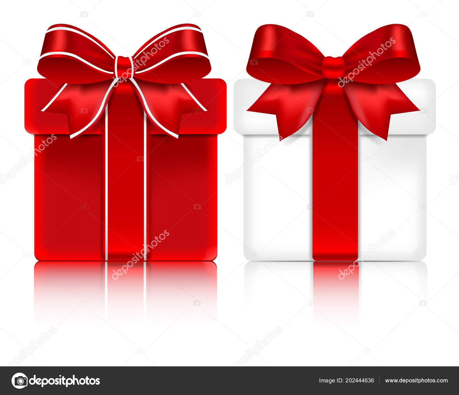 giant gift boxes red ribbons bows isolated white background stock