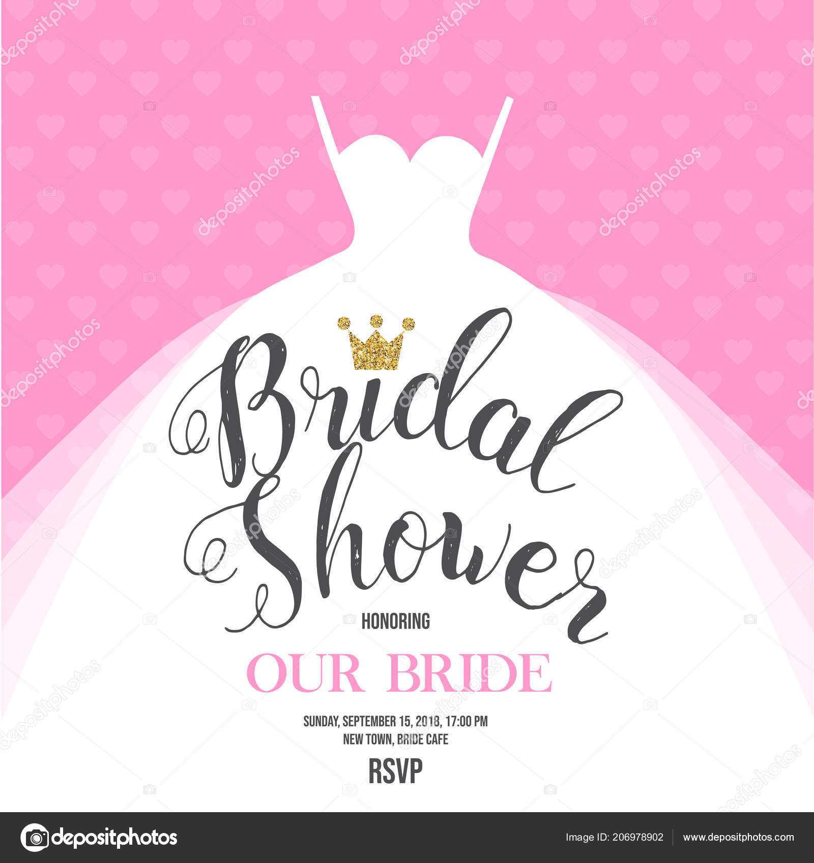 bridal shower invitation wedding dress pink background vector illustration stock vector