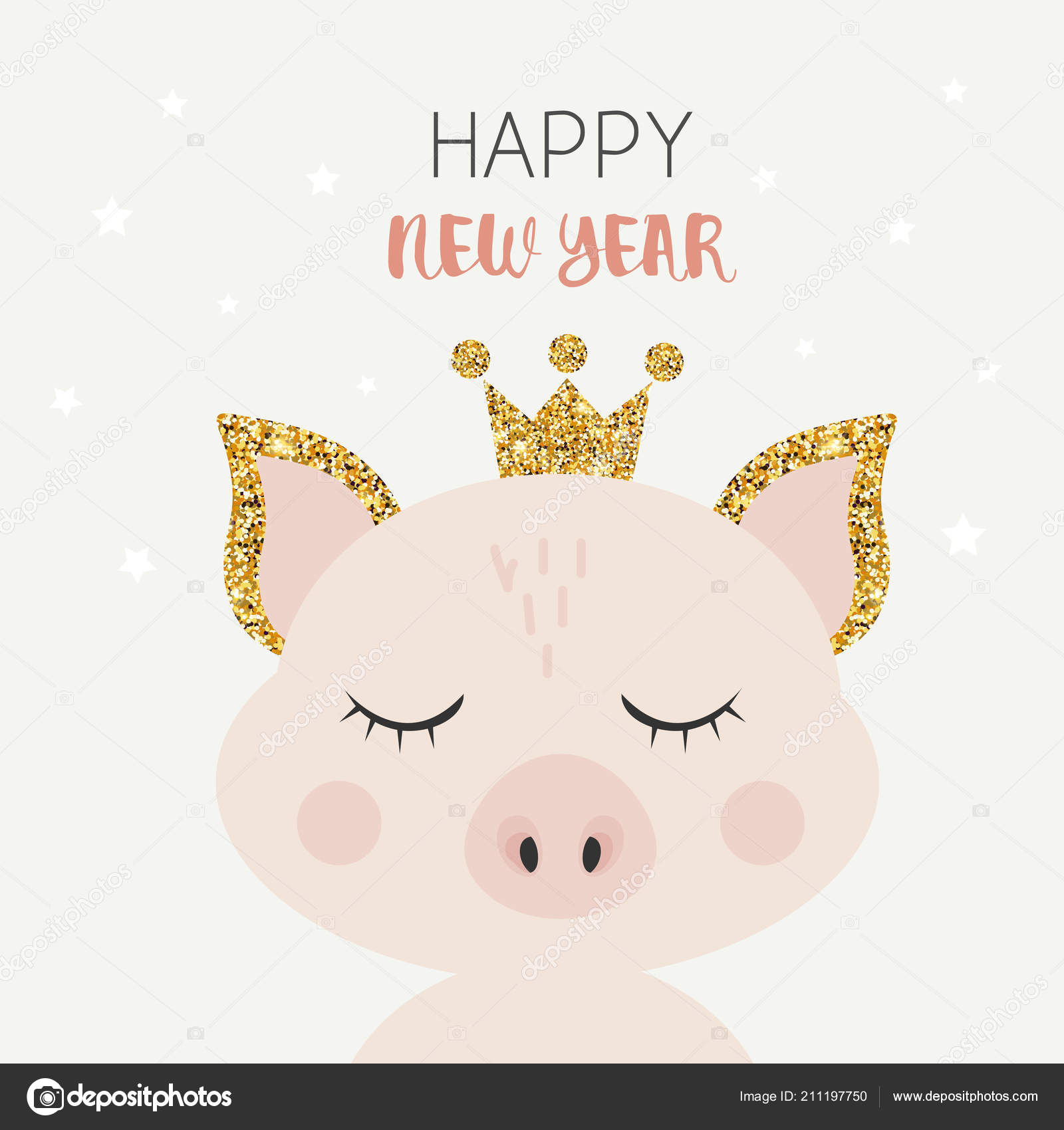 cute cartoon pig crown happy new year title stock vector