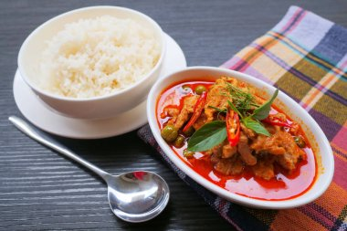 Panang pork,  curry paste with pork and coconut milk. thai food