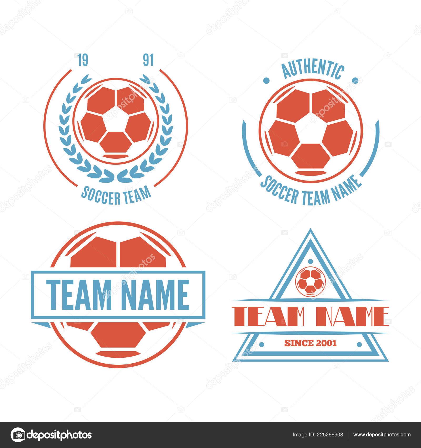 Reihe Von Fussball Oder Fussball Club Logo Set Vector