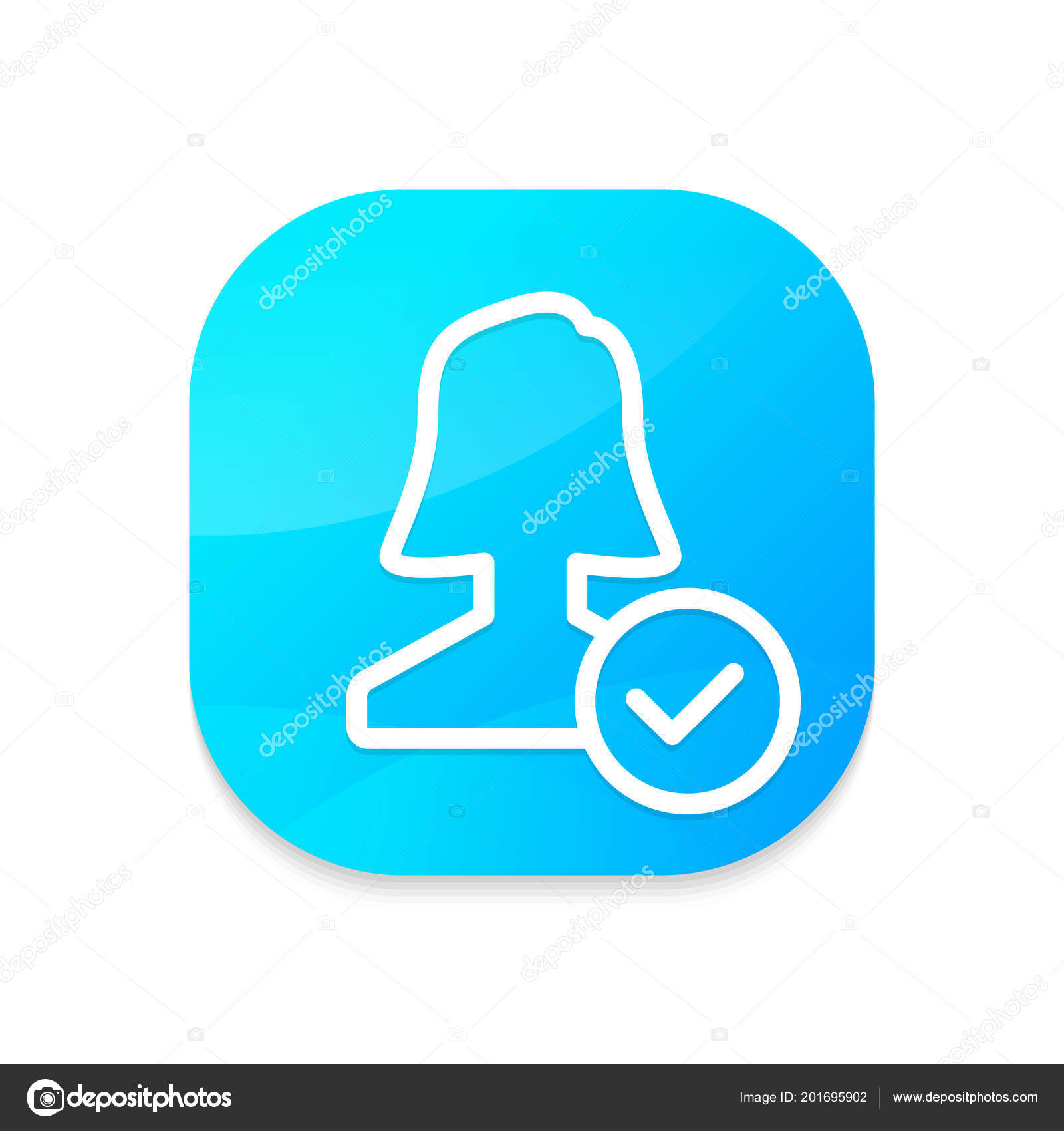 Approve User Aqua App Button — Stock Vector © DigiClack