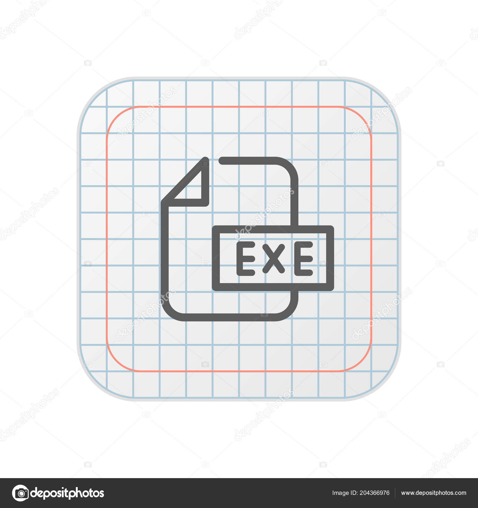 Exe File Grid App Button — Stock Vector © DigiClack #204366976