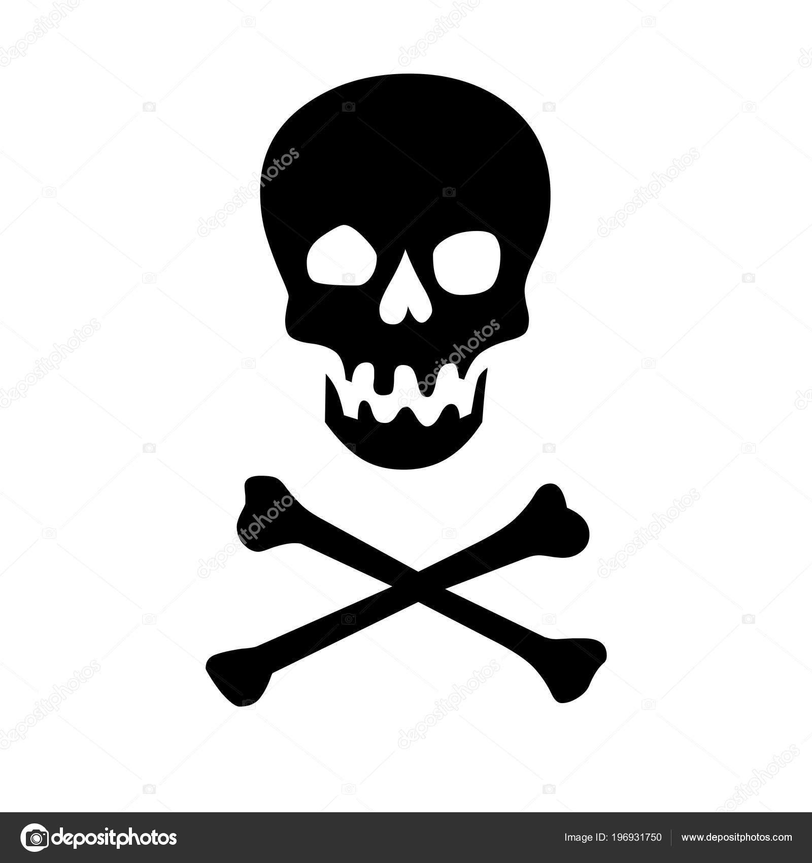 Zwarte Skull Crossbones Illustratie Stockfoto Ricochet69 196931750