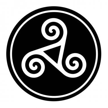 Triskelion symbol icon in a black circle