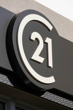 Belleville, France - June 22, 2019: Century 21 logo on a wall. Century 21 real estate is an American real estate agent franchise company founded in 1971