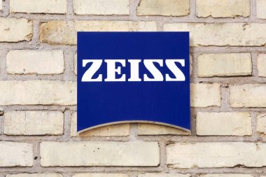 Odense, Denmark - August 13, 2020: Zeiss logo on a wall. Zeiss is a German manufacturer of optical systems and optoelectronics, founded in Jena, Germany in 1846