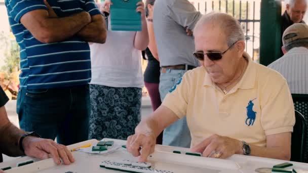 Miami, Florida USA - January 19, 2019: High definition slow motion video of elderly individuals playing the popular domino game at the historic Domino Park in Little Havana.