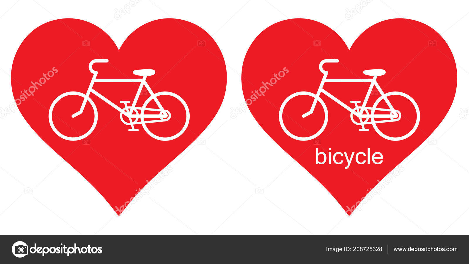 Vector Image Heart Bicycle Love Bike Love Bike Can Used — Stock