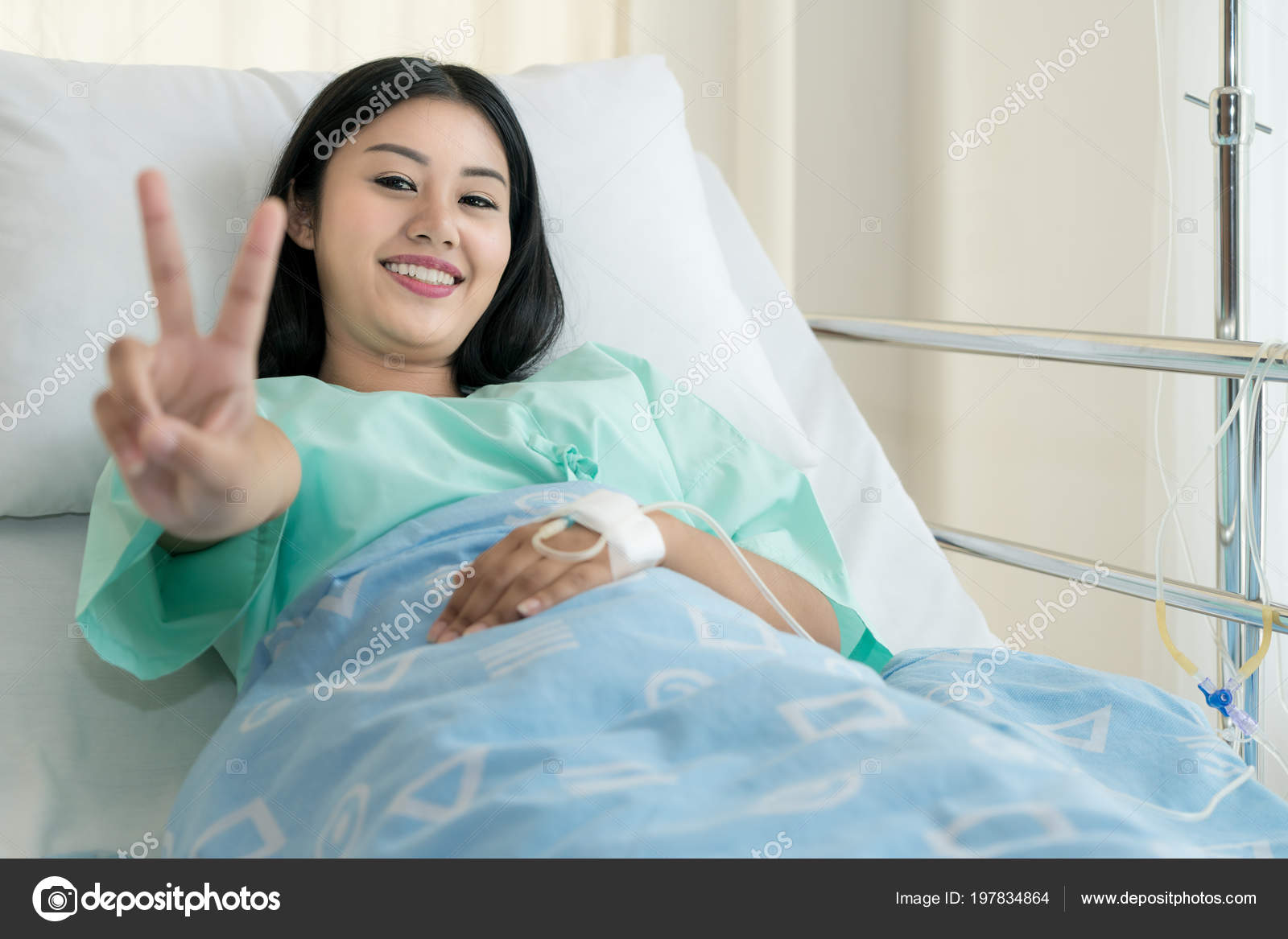 Young Asian Patient Woman Lying Hospital Bed Saline Drip