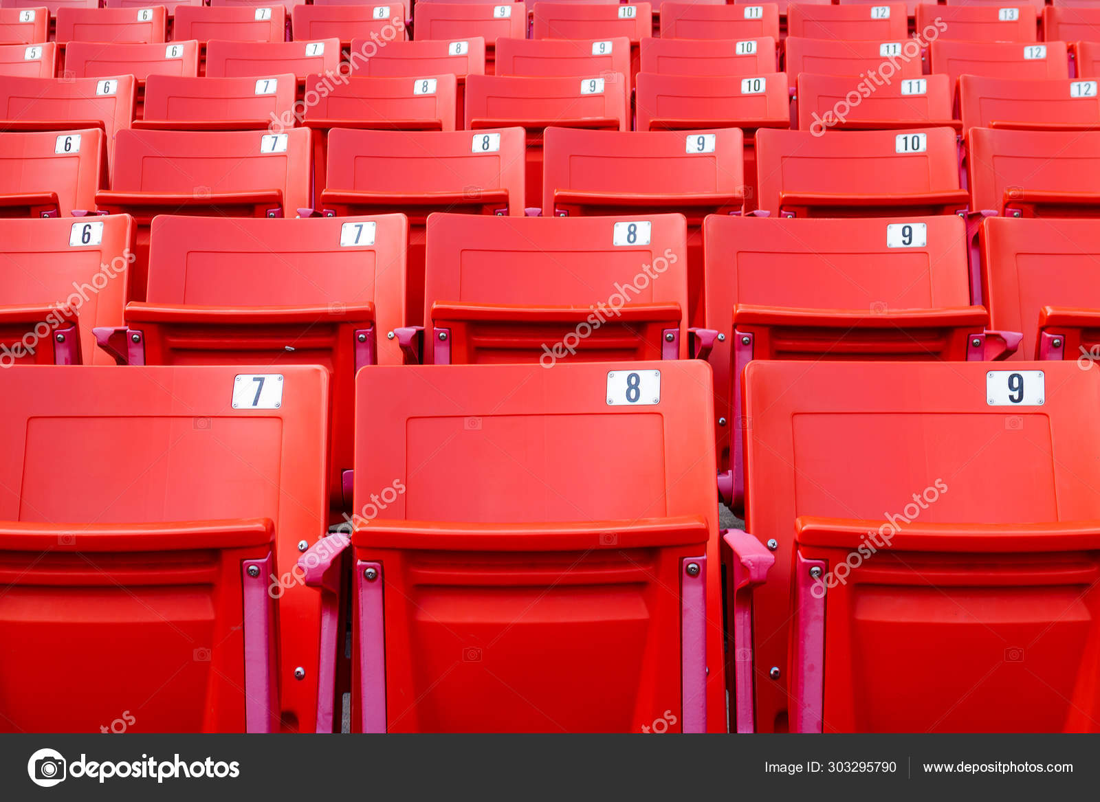 Peachy Row Red Folding Chairs Stadium Sport Concept Stock Photo Ncnpc Chair Design For Home Ncnpcorg