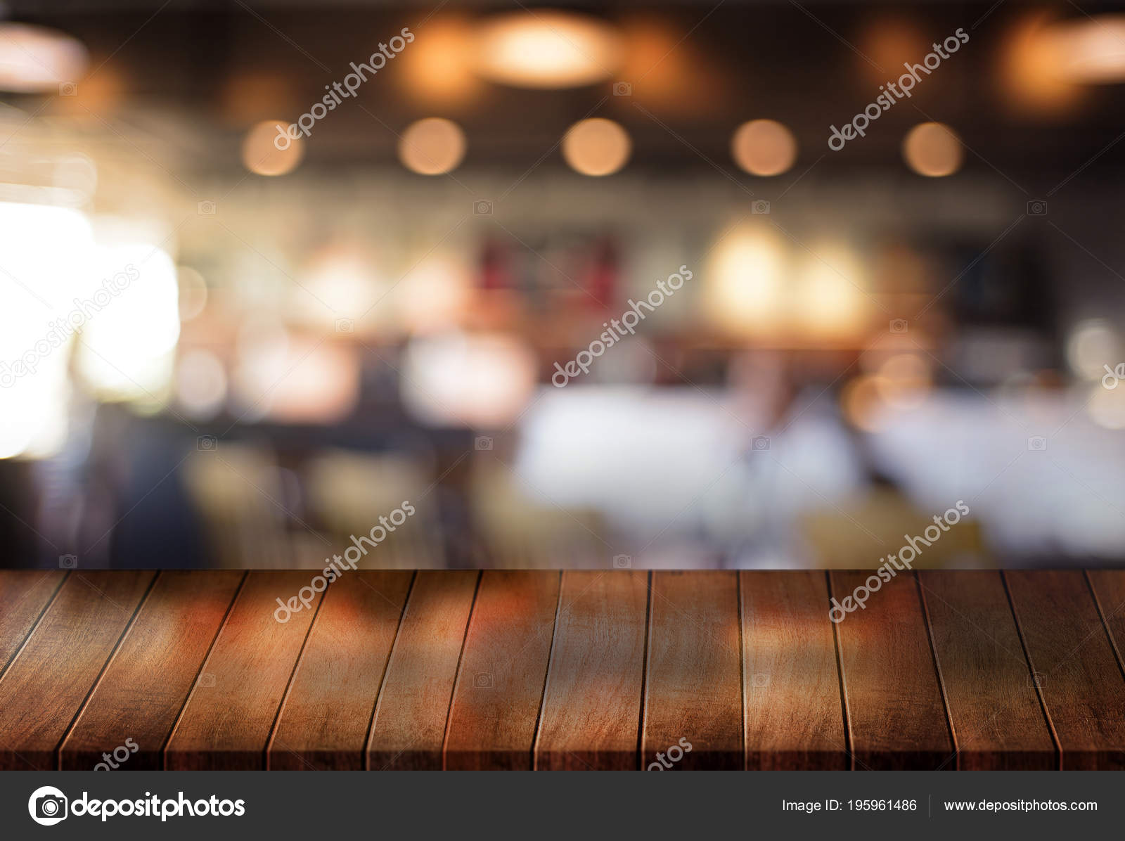 Wooden Board Empty Table Cafe Coffee Shop Bar Blurred Background Stock Photo C Duiwoy 195961486