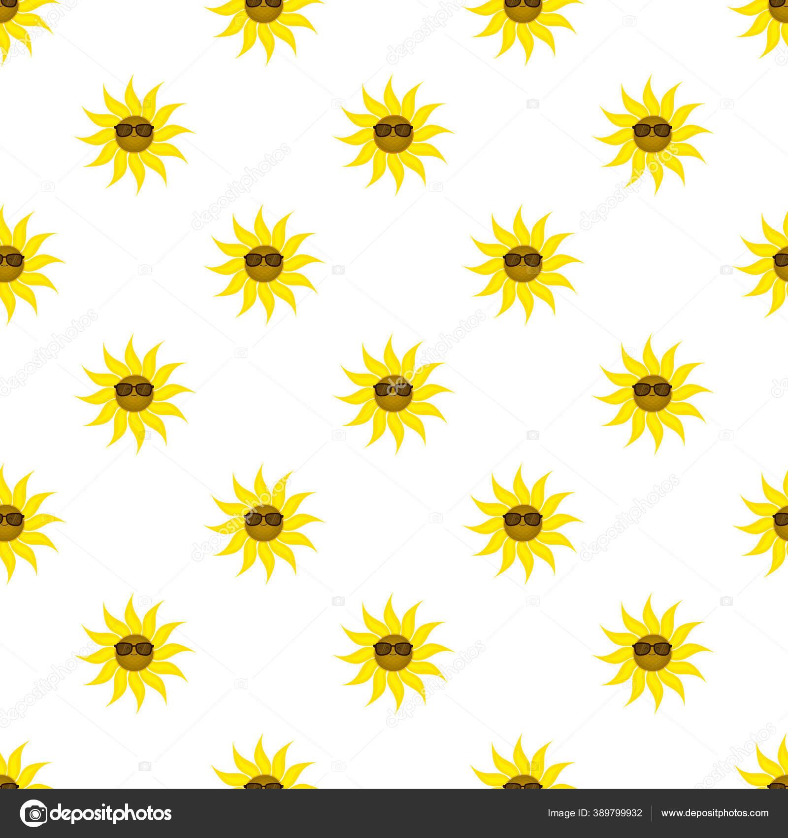 Pola Mulus Dengan Bunga Matahari Lucu Dalam Kacamata Hitam Tanaman Stok Vektor C Shibut Olya Gmail Com 389799932