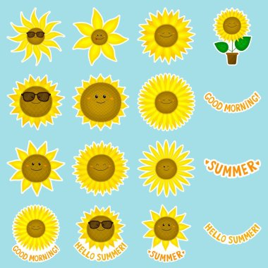 Set of funny vector sunflowers stickers. Cartoon style.Kawaii smile plants. With quotes. Positive emotions. For design of cards, posters, patterns, printing on t-shirts, mugs, avatars, magnets. icon