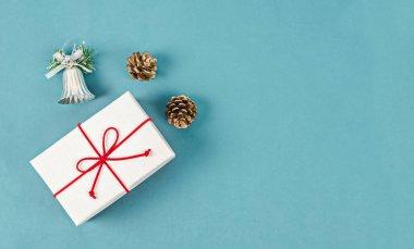 Gift box on blue background.
