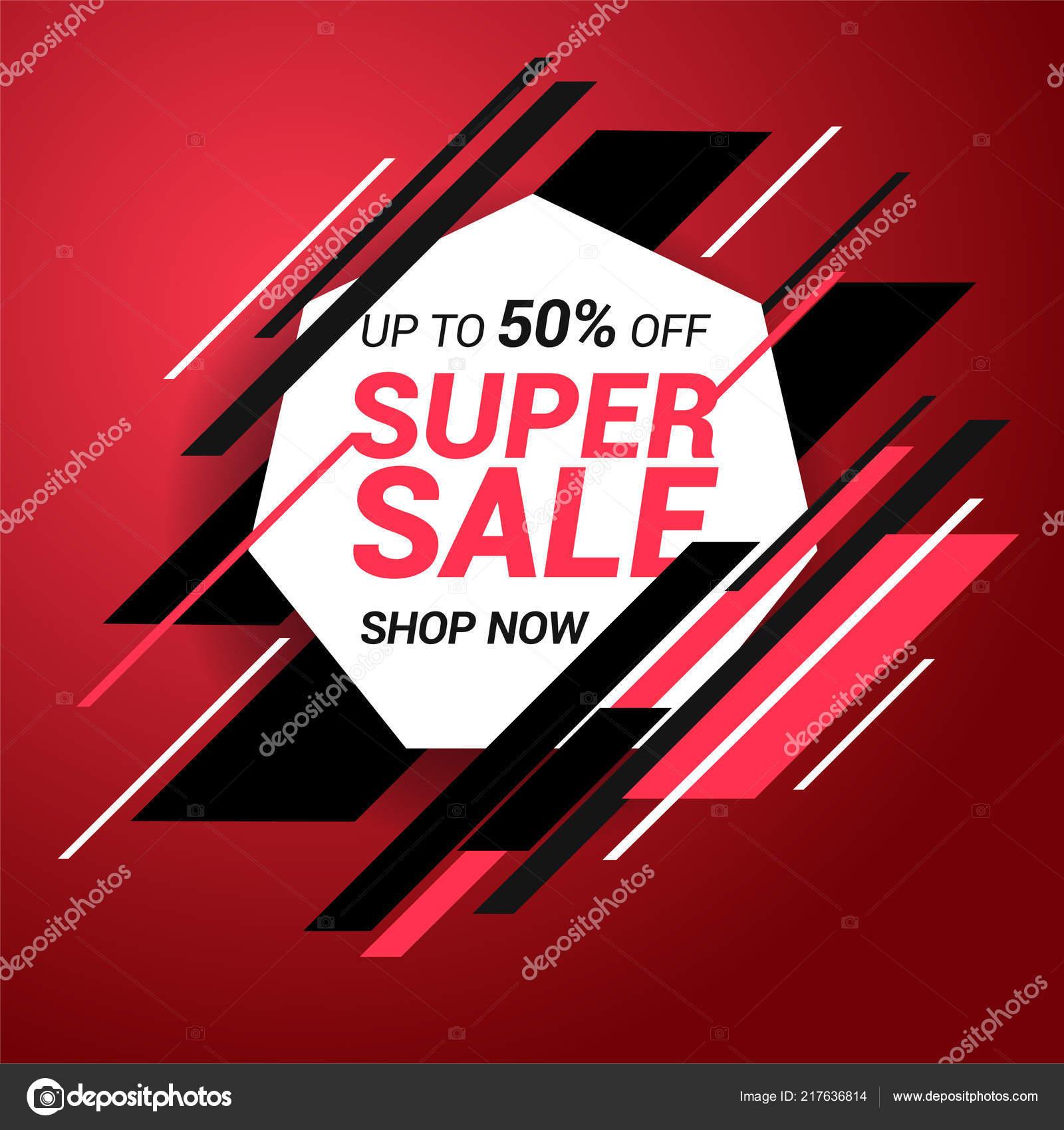 Sale banner template design. Super sale special offer. End of season special offer banner. Vector illustration.