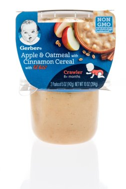 Winneconne, WI - 23 January 2019: A package of Gerber apple and oatmeal with cinnamon cereal with lil bits baby food on an isolated background
