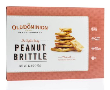 Winneconne, WI - 8 February 2019: A package of Old Dominion peanut brittle on an isolated background