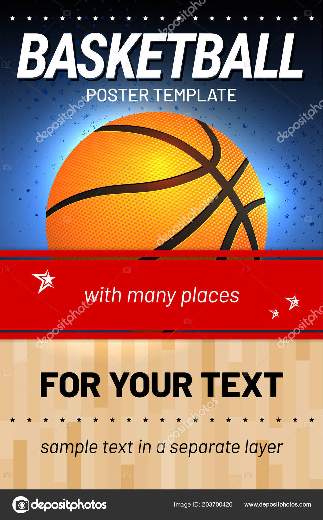 basketball background template sample text separate layer your sport