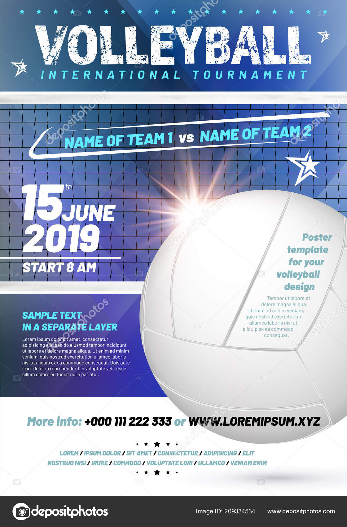 template your volleyball tournament poster design sample text