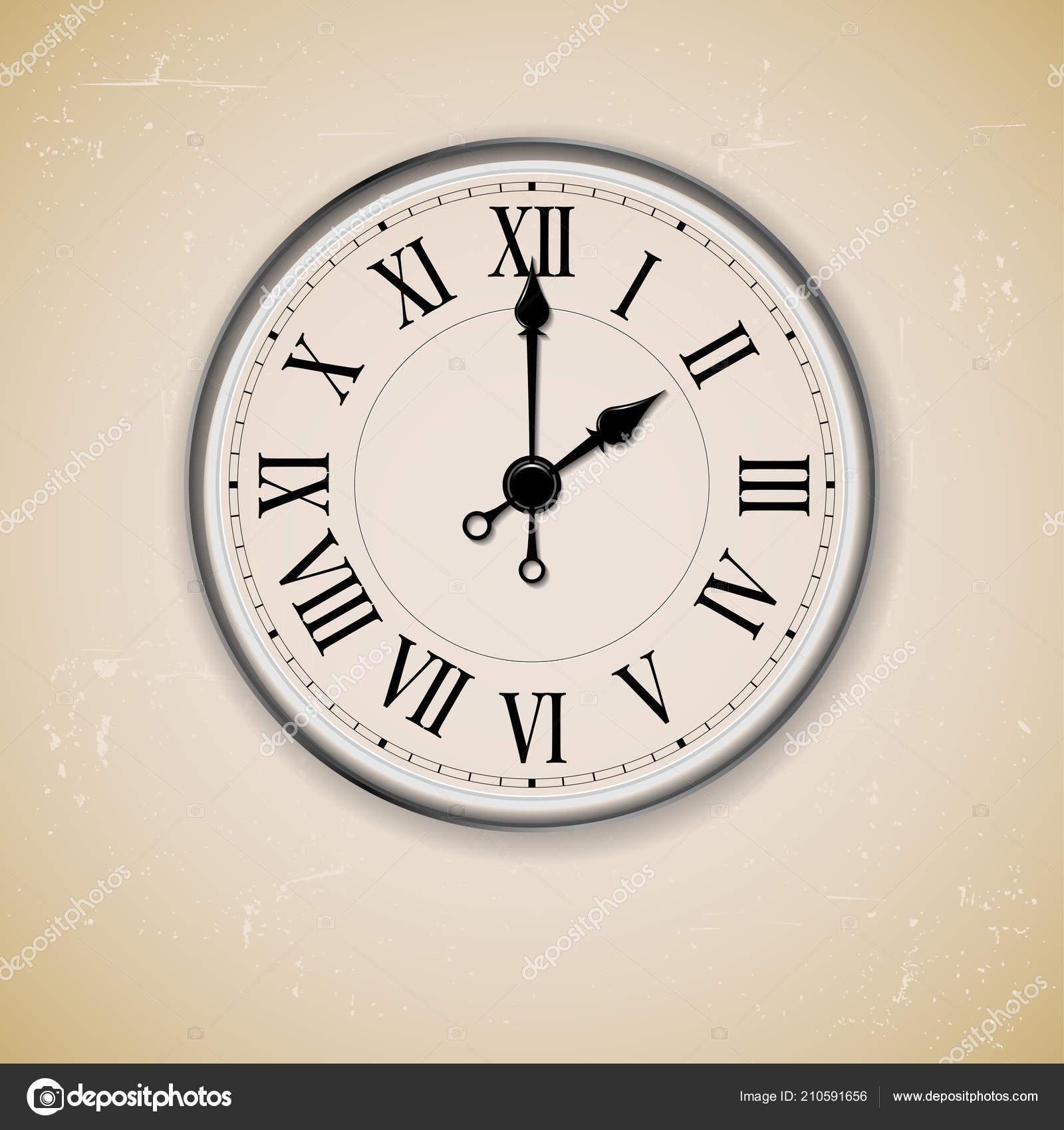 11432c97f7b Relógio Parede Antigo Velho Sobre Fundo Negro Ilustração Vetorial — Vetor  de Stock