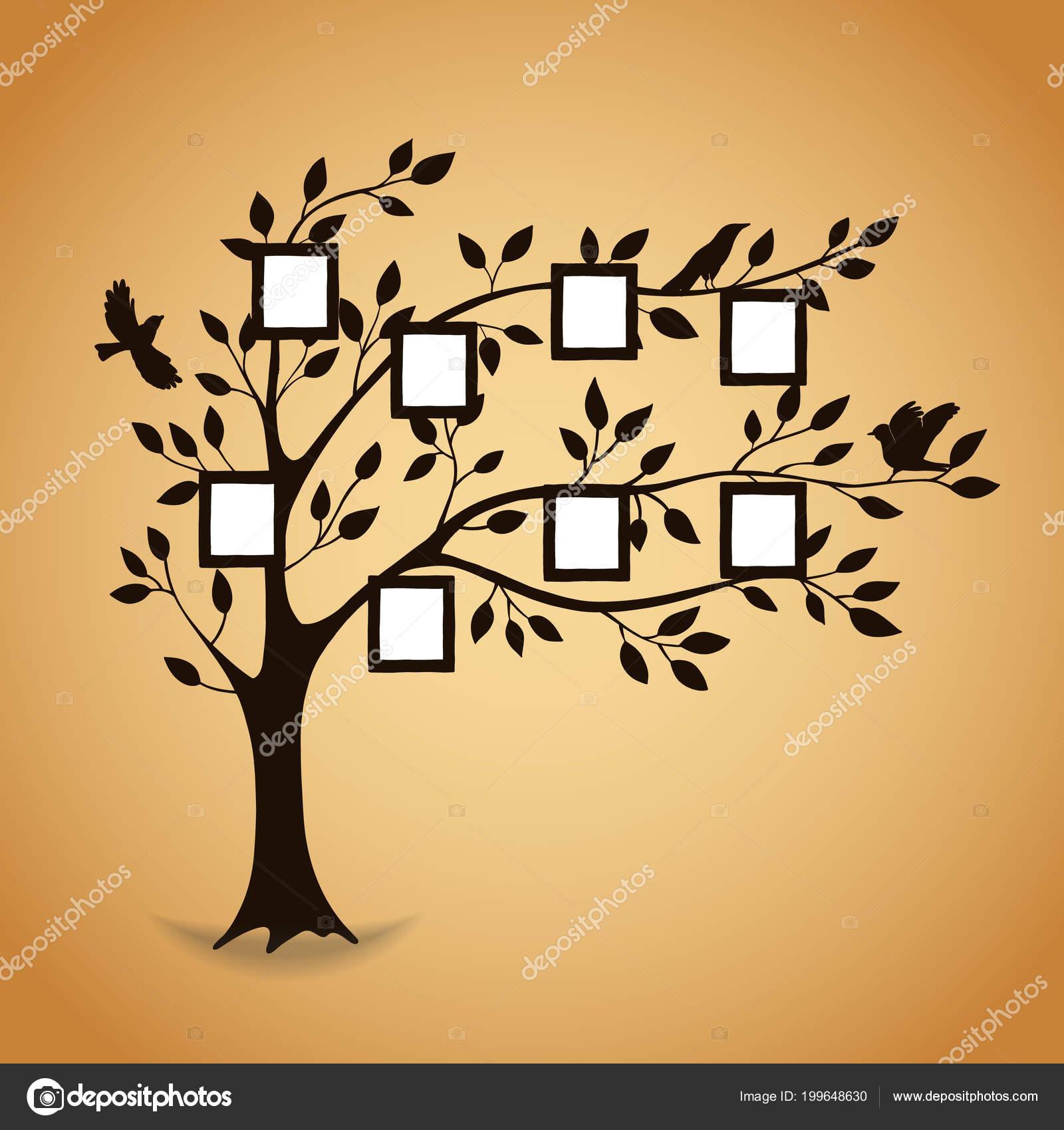 Árbol de familia con marcos de fotos — Archivo Imágenes Vectoriales ...