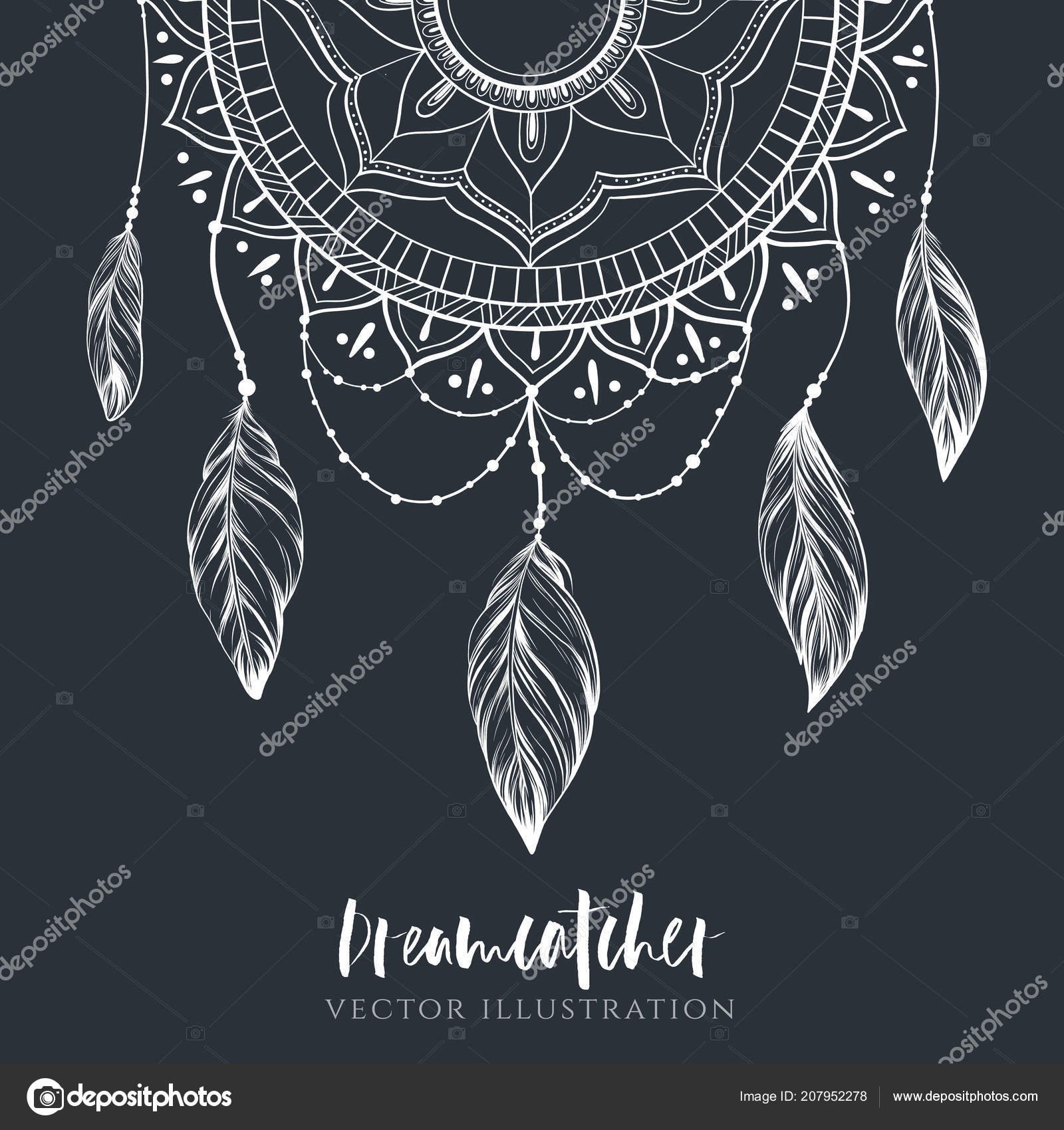 64040ae86 Dreamcatcher with feathers and branches. Sweet dream. Native American Indian  talisman. Vector hand drawn illustration. Boho design, tattoo art.