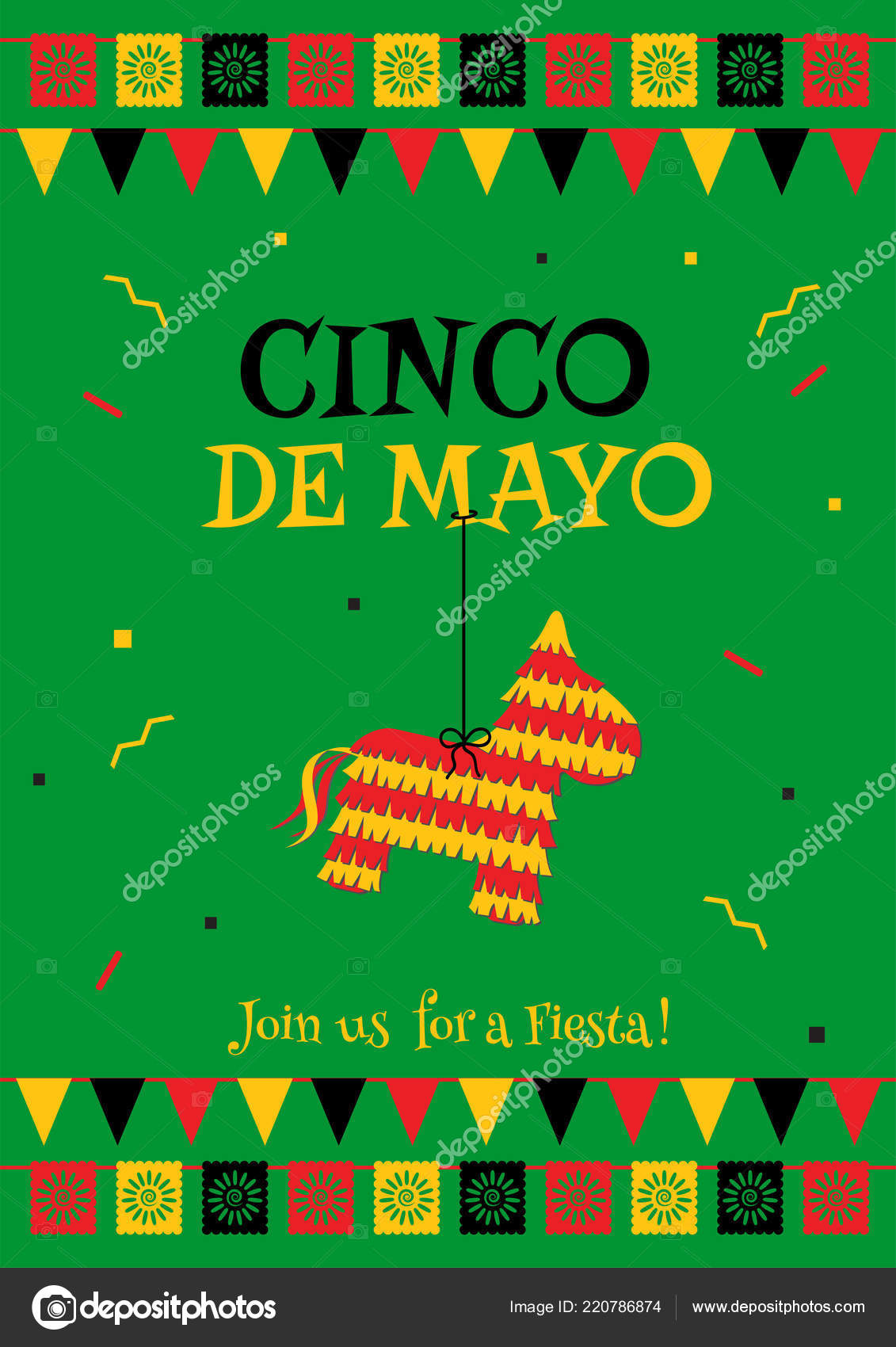 cinco mayo party poster template festive green vector illustration