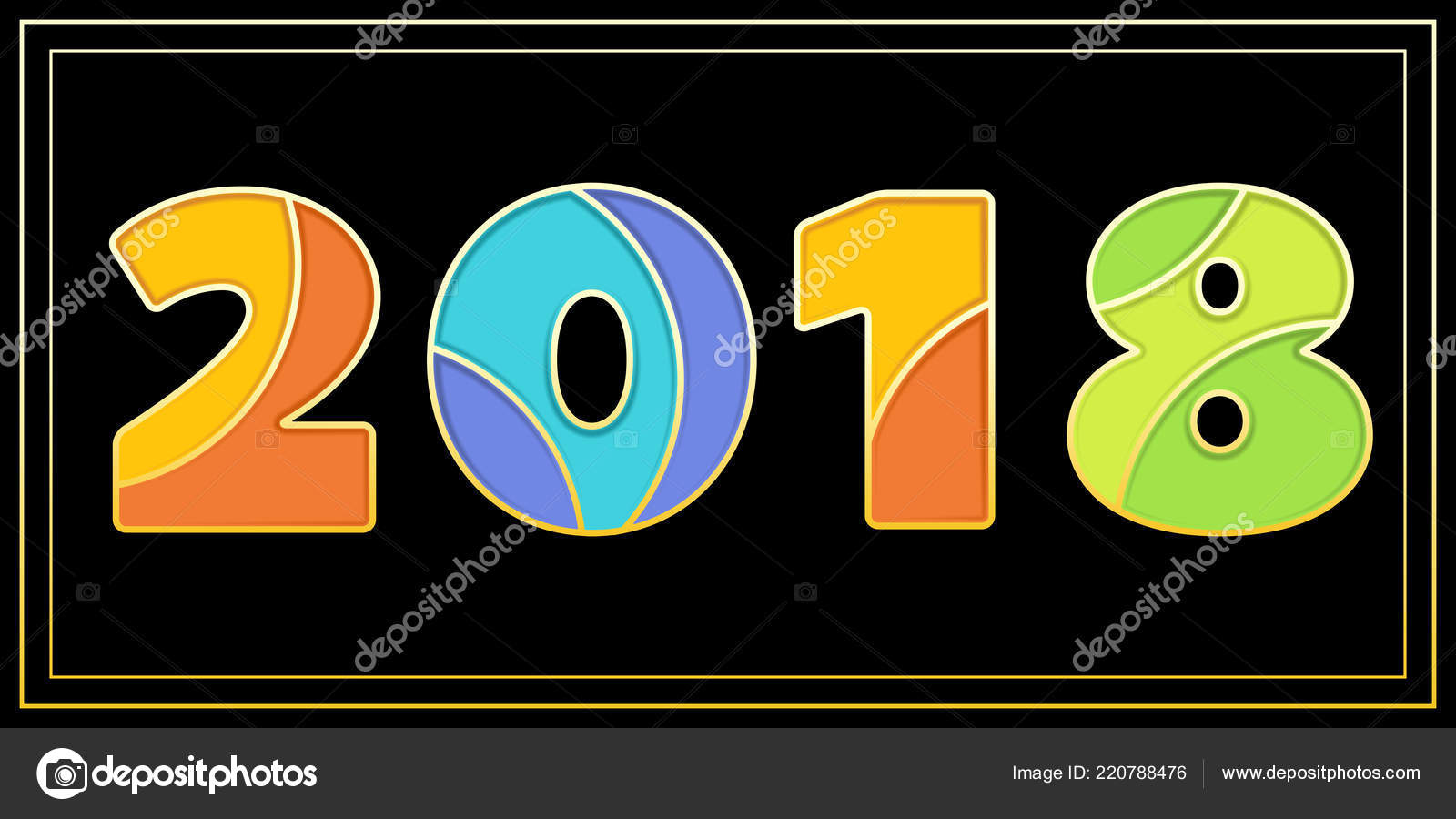 new year banner big 2018 signs enamel mosaic art isolated stock vector