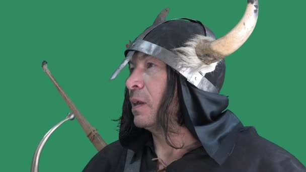 Viking bojovník na zeleném pozadí dává signál troubit na stříbrný roh. Muž v helmě s rohy a koženou bundou